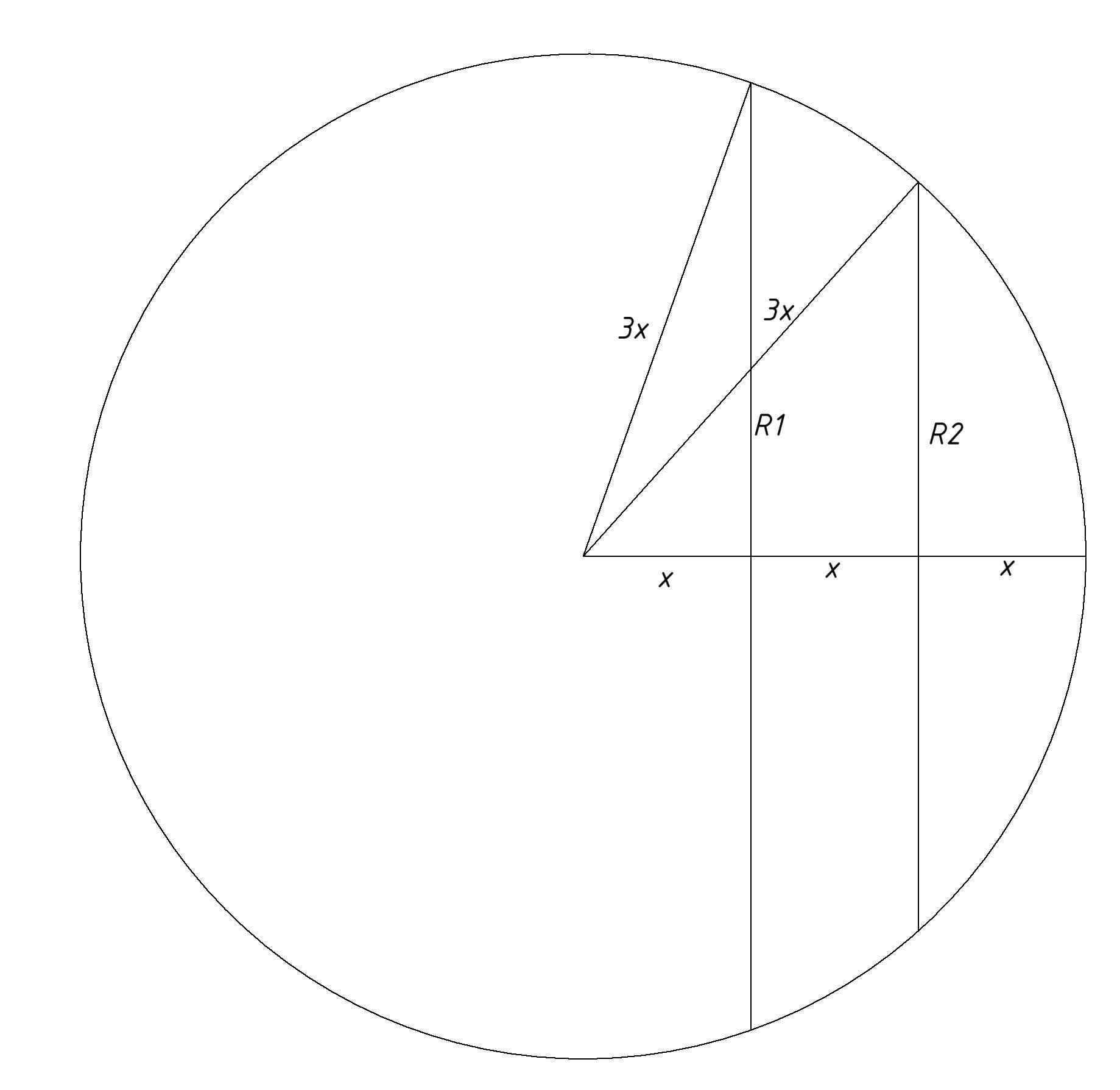 Радиус сферы разделен на три равные части и через