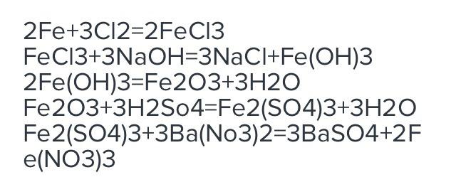 Fe Gt Fecl3 Gt Feoh3 Gt Fe2o3 Gt Fe2so43 Gt Fe