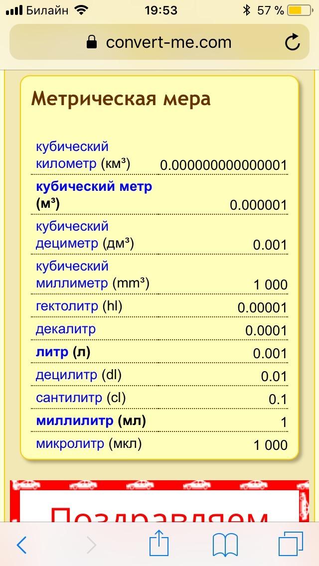 Сколько дц в литре
