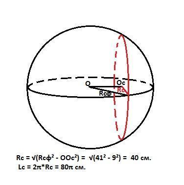 Сфера радиуса 41 пресечена плоскостью на