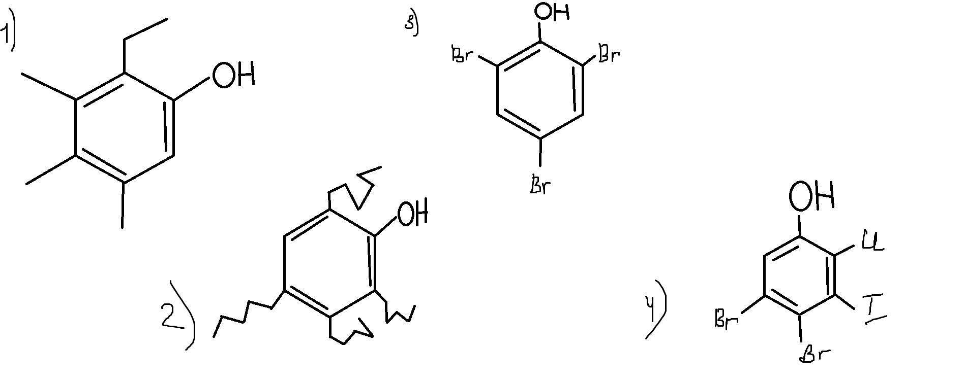 Напишите формулы 3,4,5 триметил- 6 этилфенол;