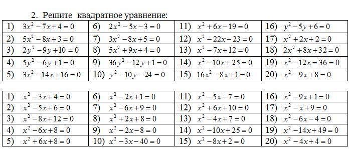 Решите квадратные уравнения