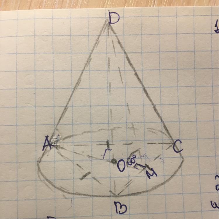Правильная треугольная пирамида обведена конусом.