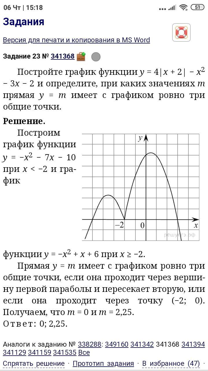 Пострить график функции y=4|x+2|-x^2-3x-2. При