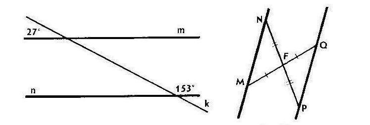 Изображение к вопросу Помогите пожалуйста ,прошу. Параллельны ли прямые m и n изображенные на рисунке 3  На рисунке 4 отрезки MO и NP пересекаются в точке F.Докажите что MP параллельны PO