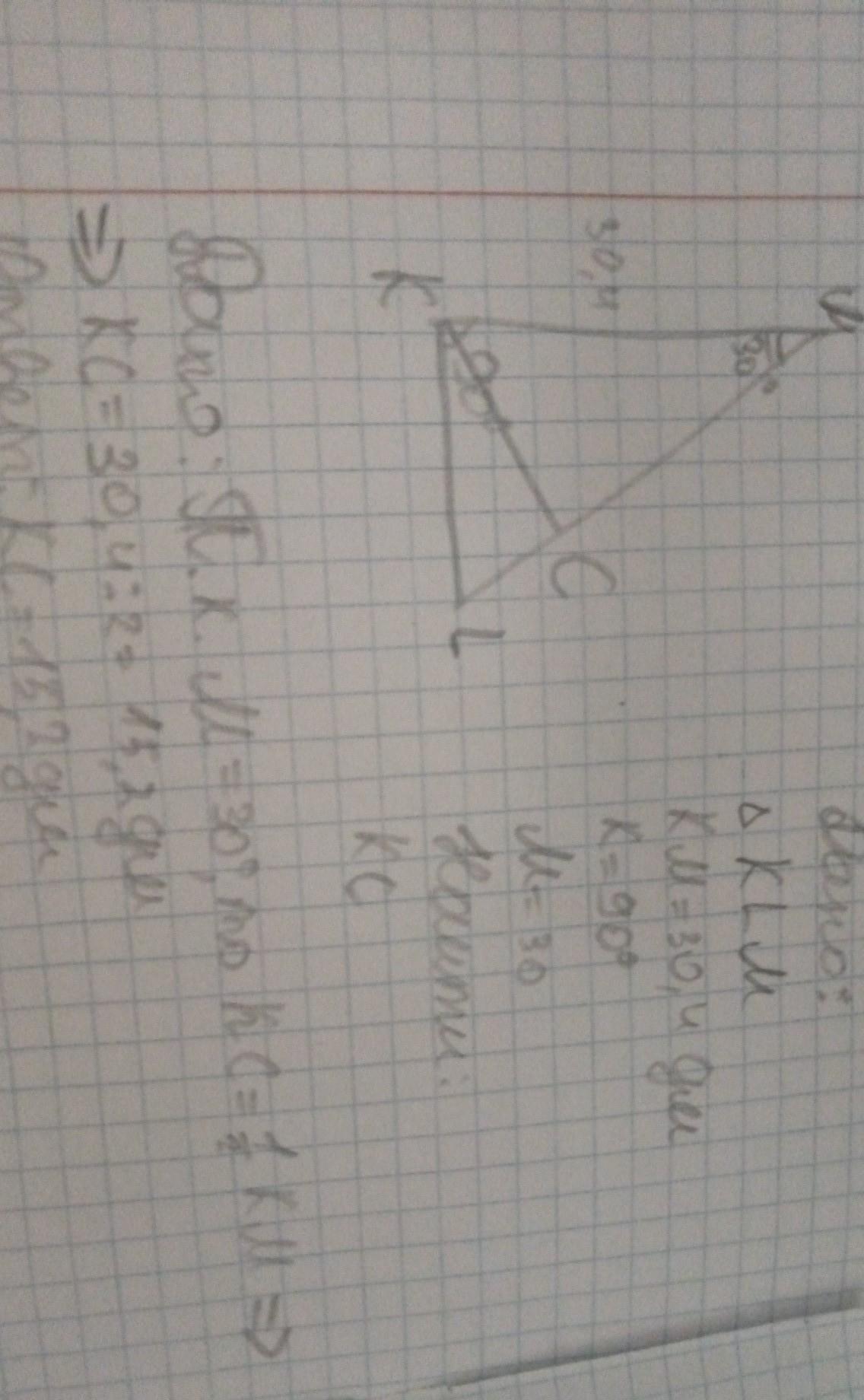 В треугольнике KLM известно,что КМ=30,4дм, угол