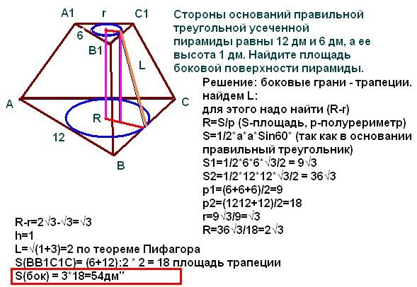 Объём неправильной усеченной пирамиды формула