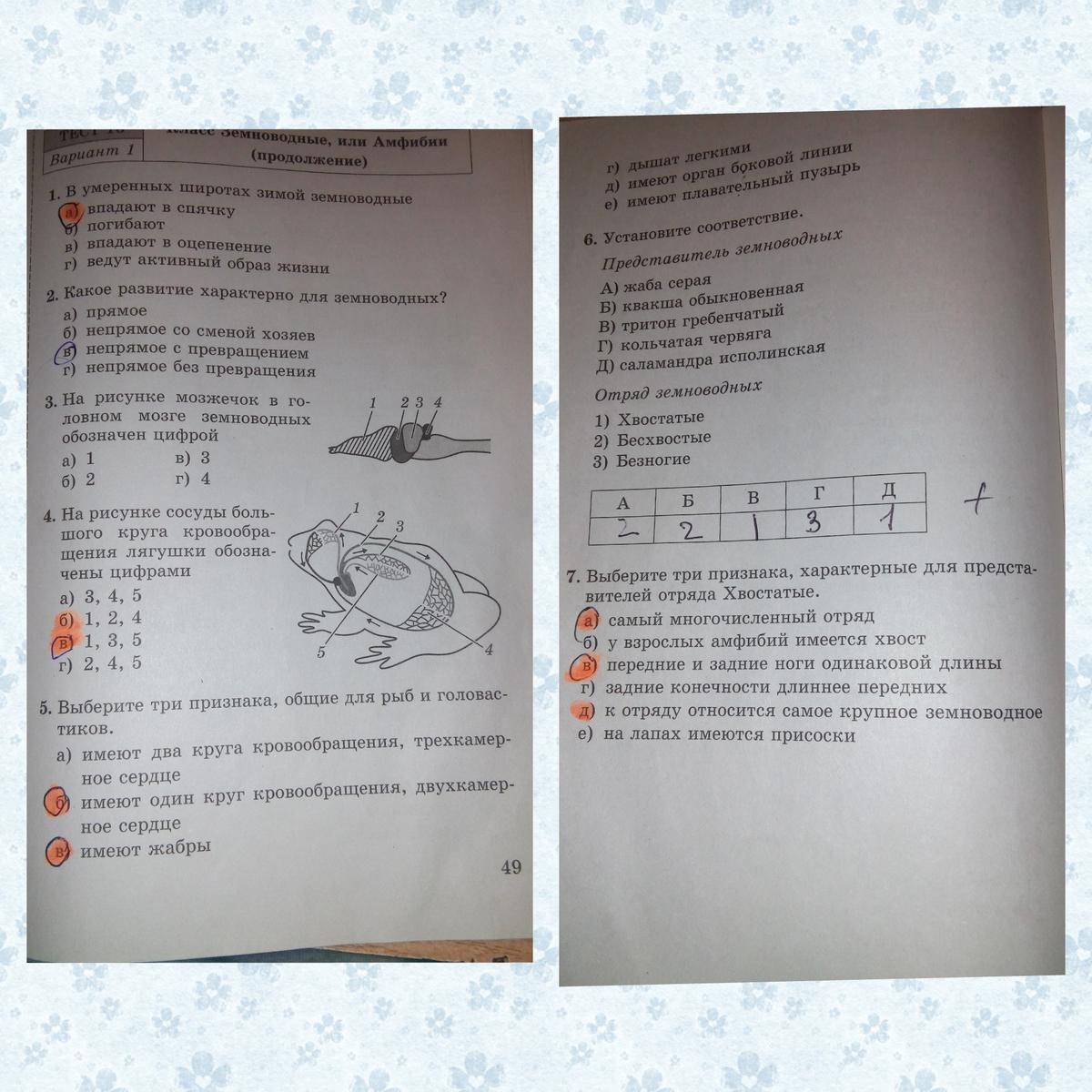 Биология м.с гекалюк 7 класс тесты ответы