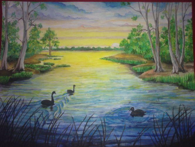 Рисуем красками поэтапно природа