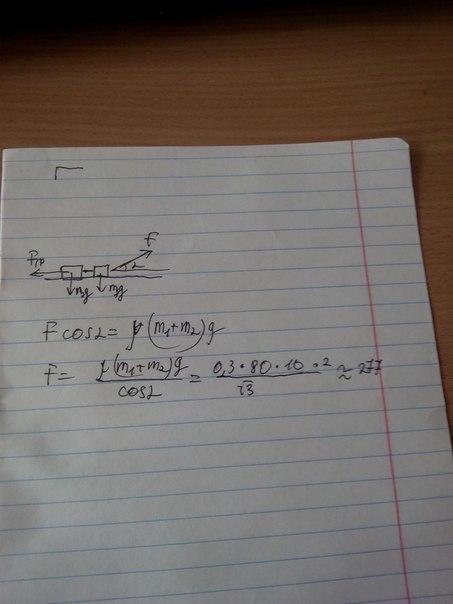 277. По второму закону Ньютона, т.к ускорения нет то Fтяги =
