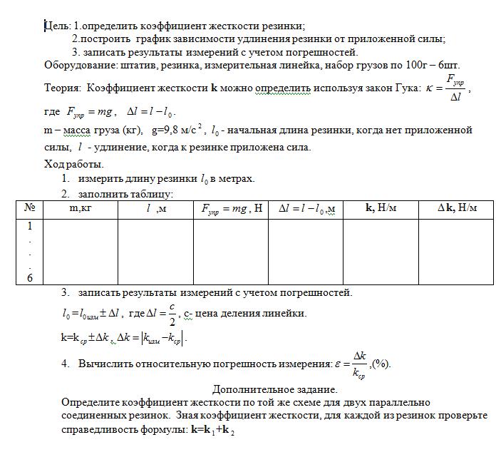 Лабораторная Работа №3 Определение Жёсткости Пружины По Физике 10 Класс Решение