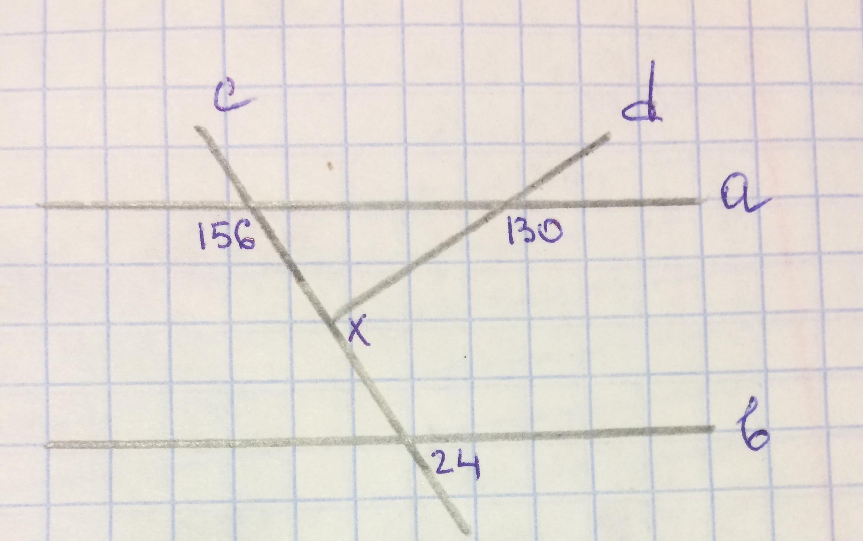 Задача по Геометрии<br> Найти угол Х.<br> a||b, c - секущая, d - секущая.