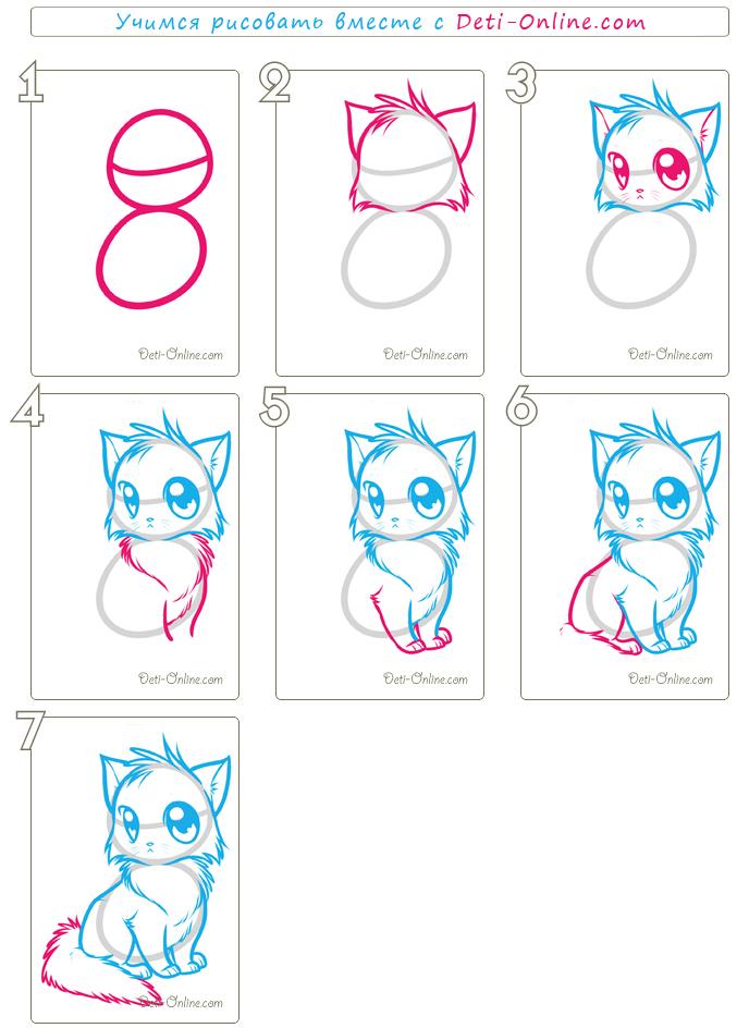 Как нарисовать поэтапно котенка аниме поэтапно