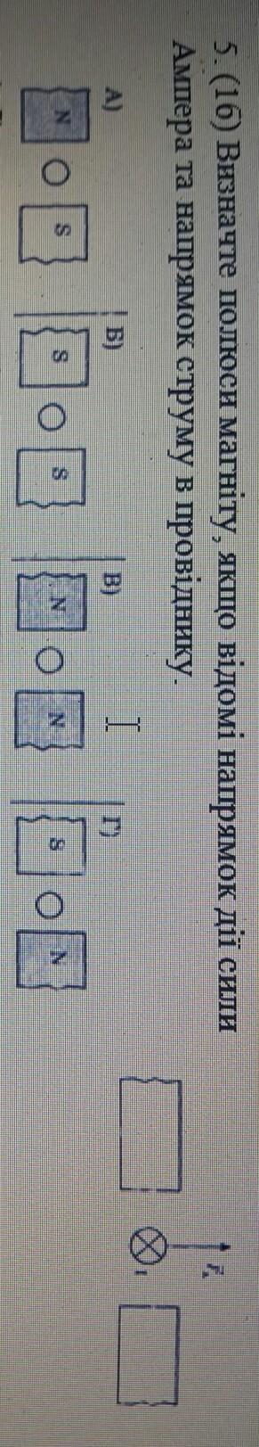 Визначте полюси магніту,якщо відомі напрямок дії сили та струму в провіднику