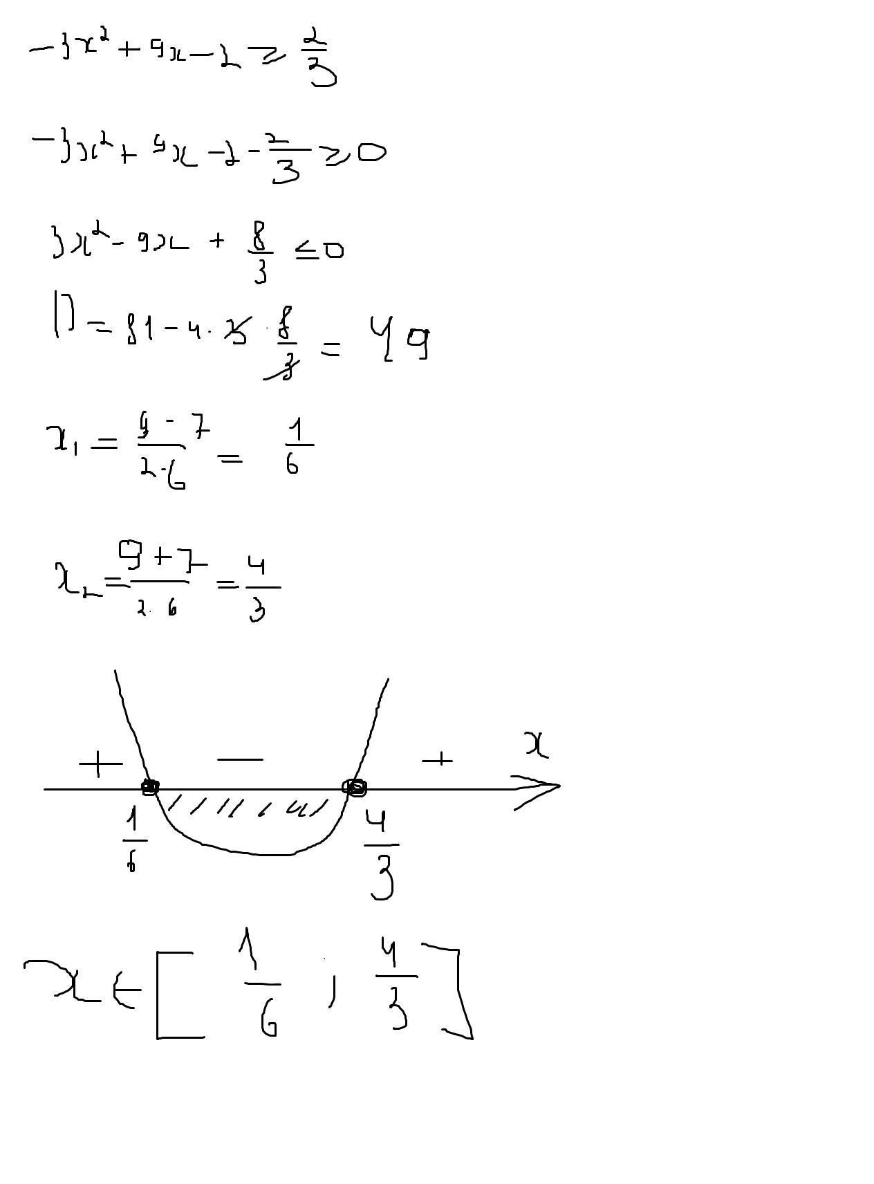 При каких значениях x трехчлен -3x^2+9x-2