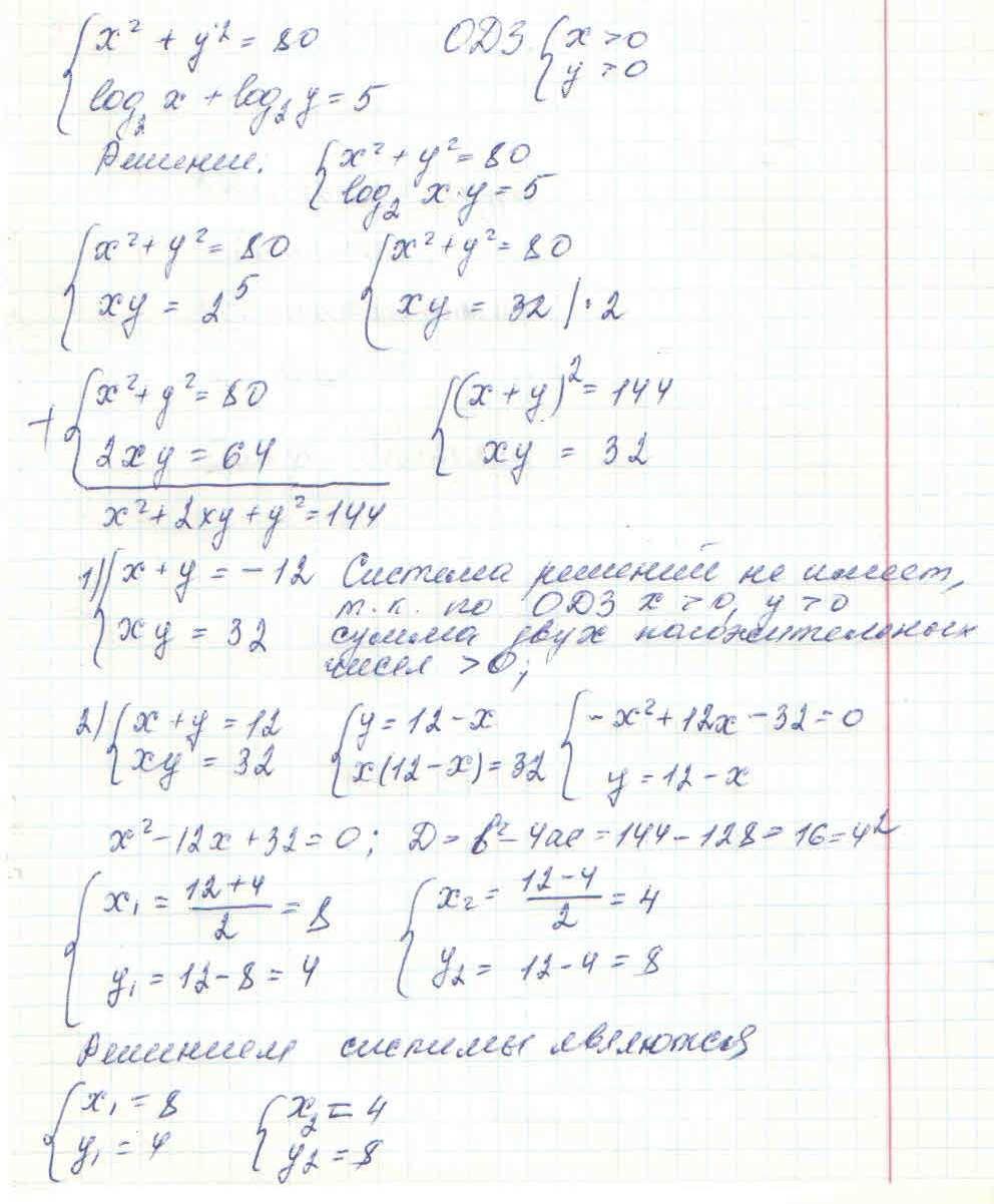 X^2+y^2=80 log(2)x+log(2)y=5