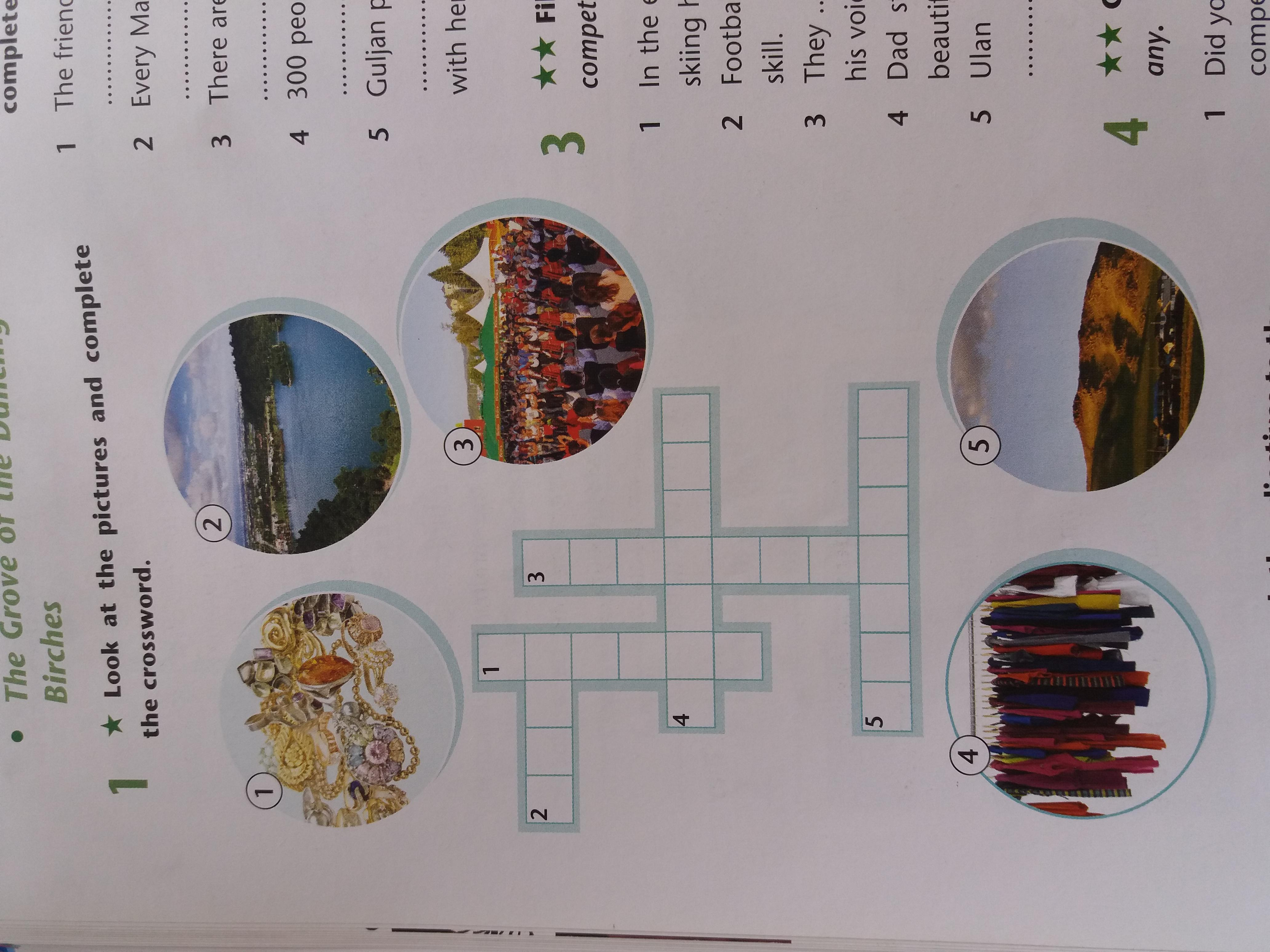 Look at the pictures and complete the crossword
