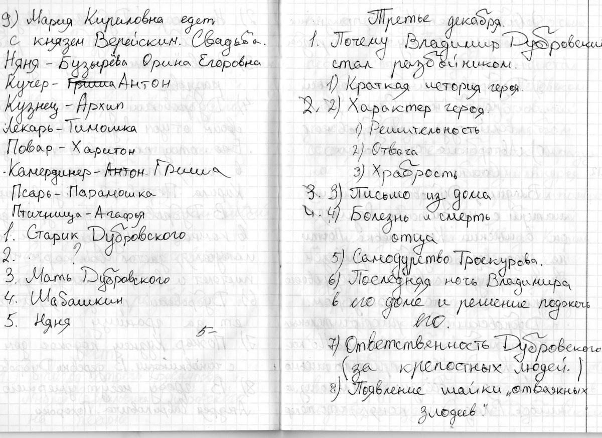 А с пушкин дубровский сочинение 6 класс глава