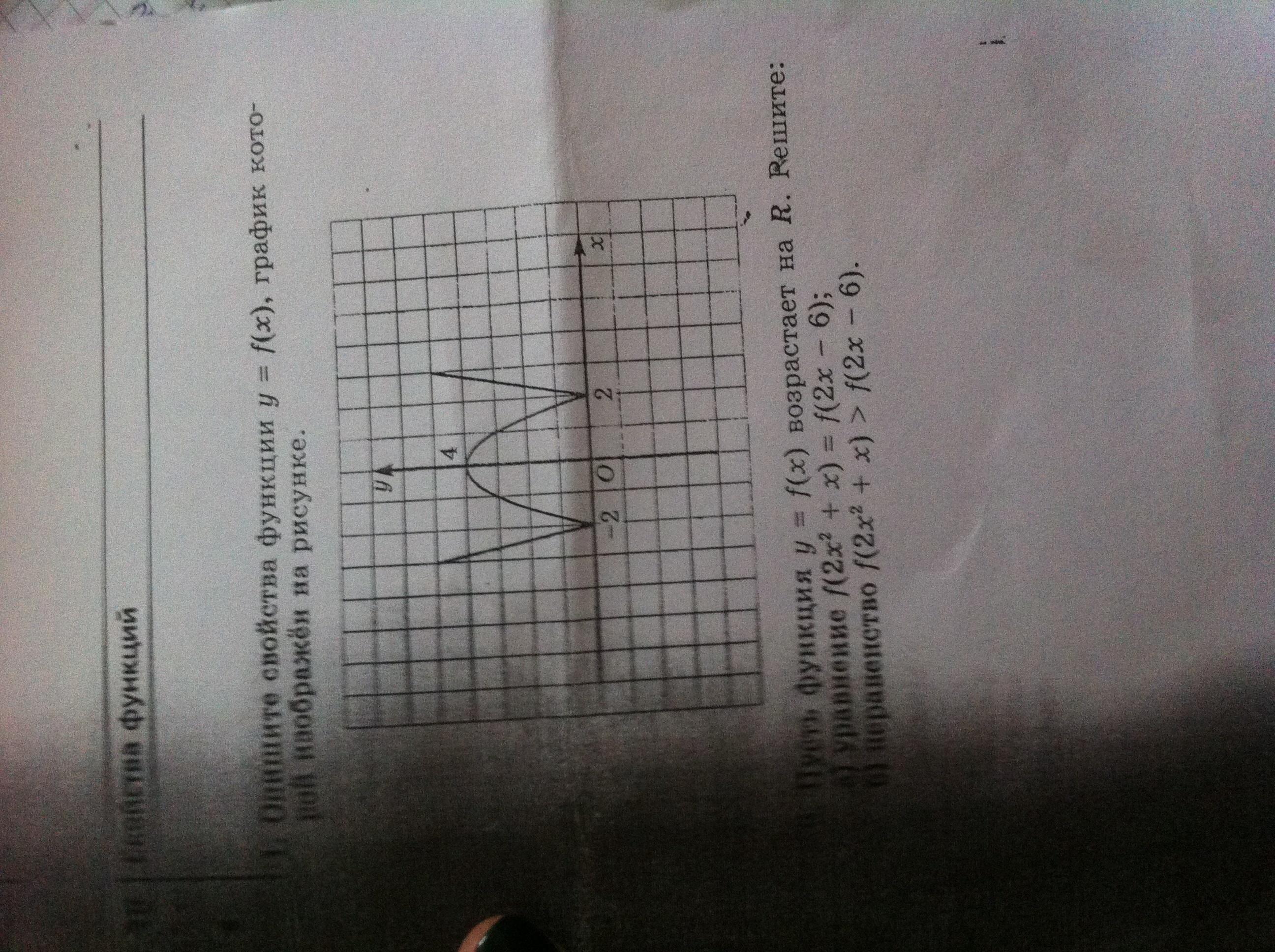 Свойства функции y=f(x) оба задания срочно!!!