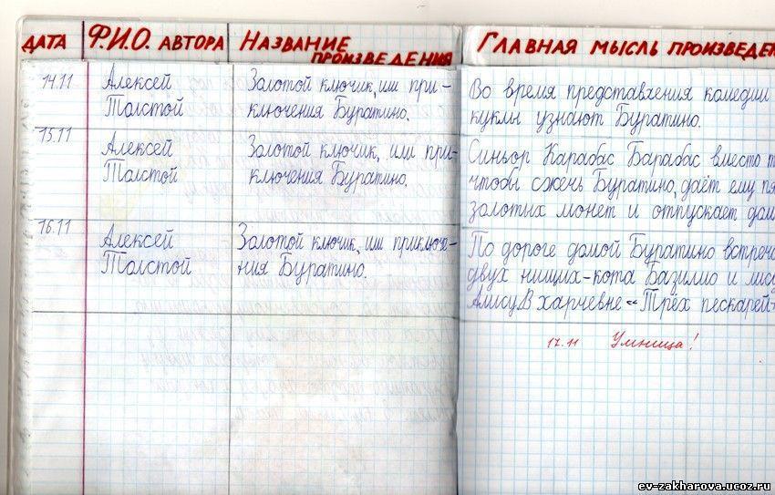 Как сделать читательский дневник в 6 классе