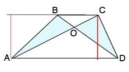 Высоты треугольников АВС и ВСD равны высоте трапеции ( расст