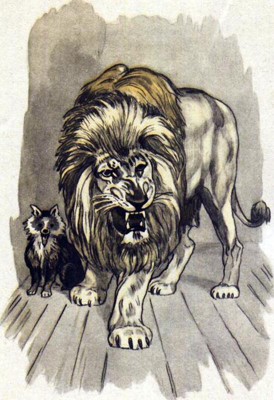 Картинки карандашом лев и собачка
