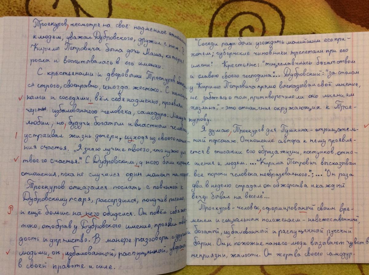 Сочинение по роману дубровский 6 класс мой любимый герой 7