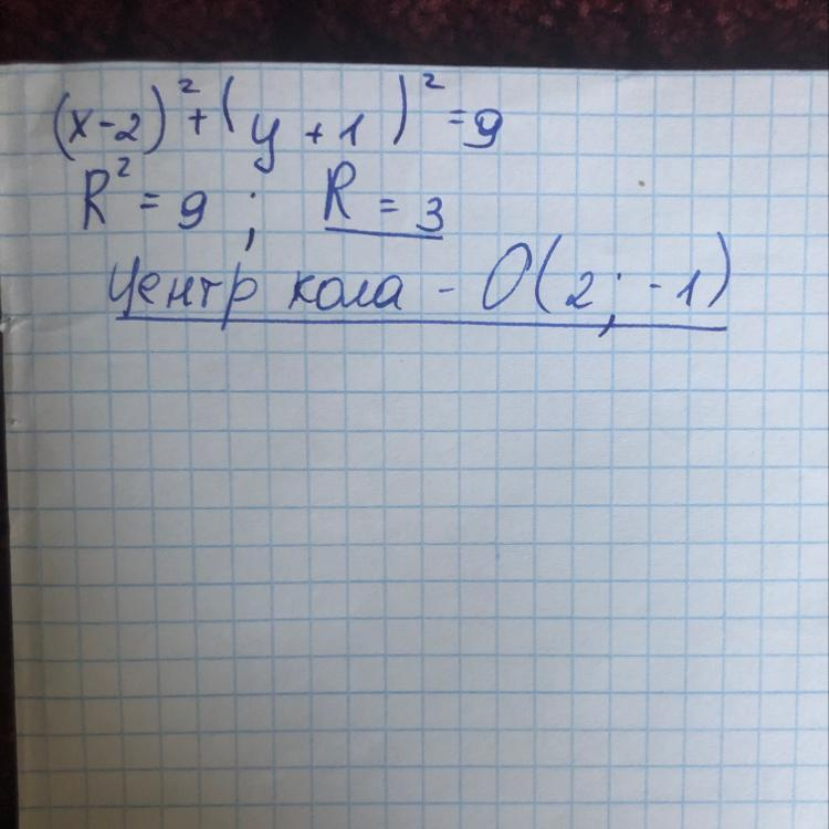 Знайдіть центр і радіус R кола: (х-2) (В квадрате)