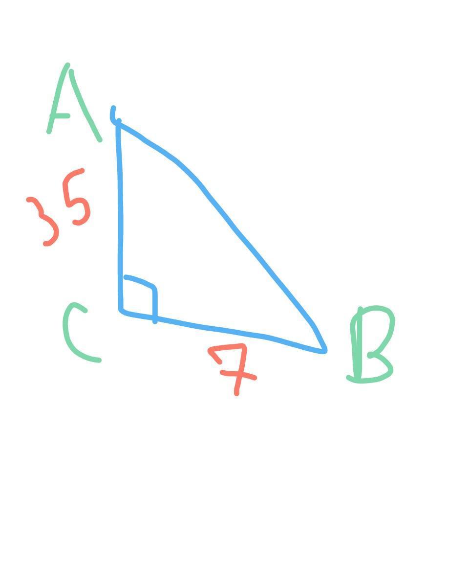 В треугольнике ABC угол C равен 90 градусов, BC=7,