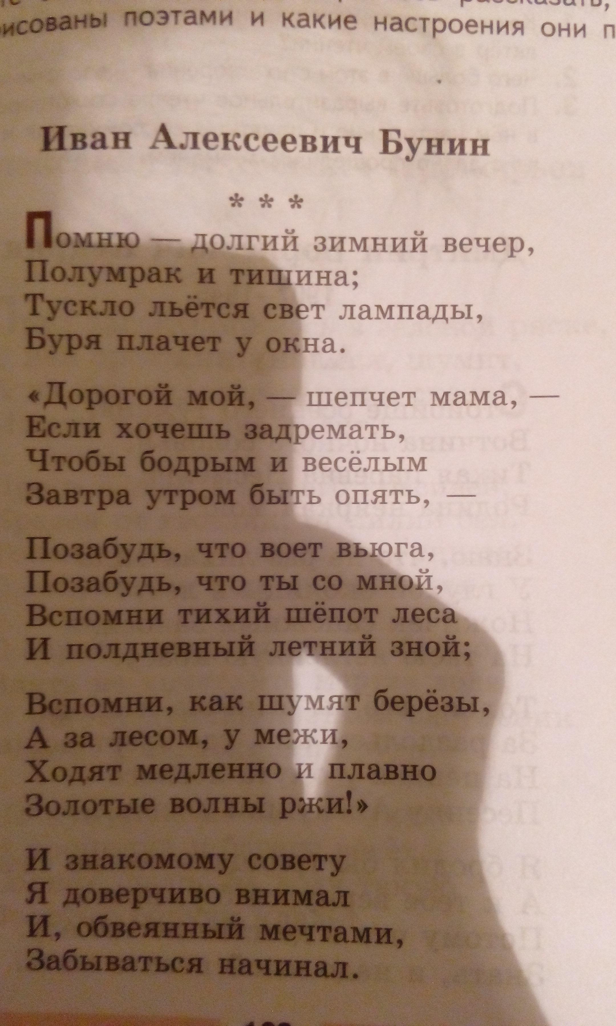 "Анализ стихотворения И.А.Бунина ""Помню-долгий зимний вечер"""
