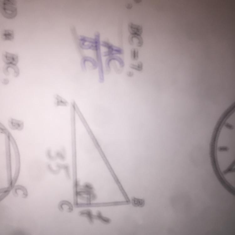 В треугольнике АВС угол С равен 90 градусов, ВС 7,