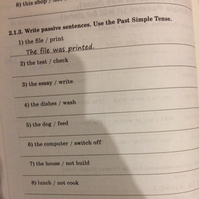 Write Passive Sentences Use The Present Simple Tense 1 The Test Check 2 The школьные знания Com