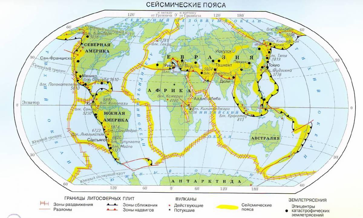 Как отметить сейсмические пояса земли 6 класс