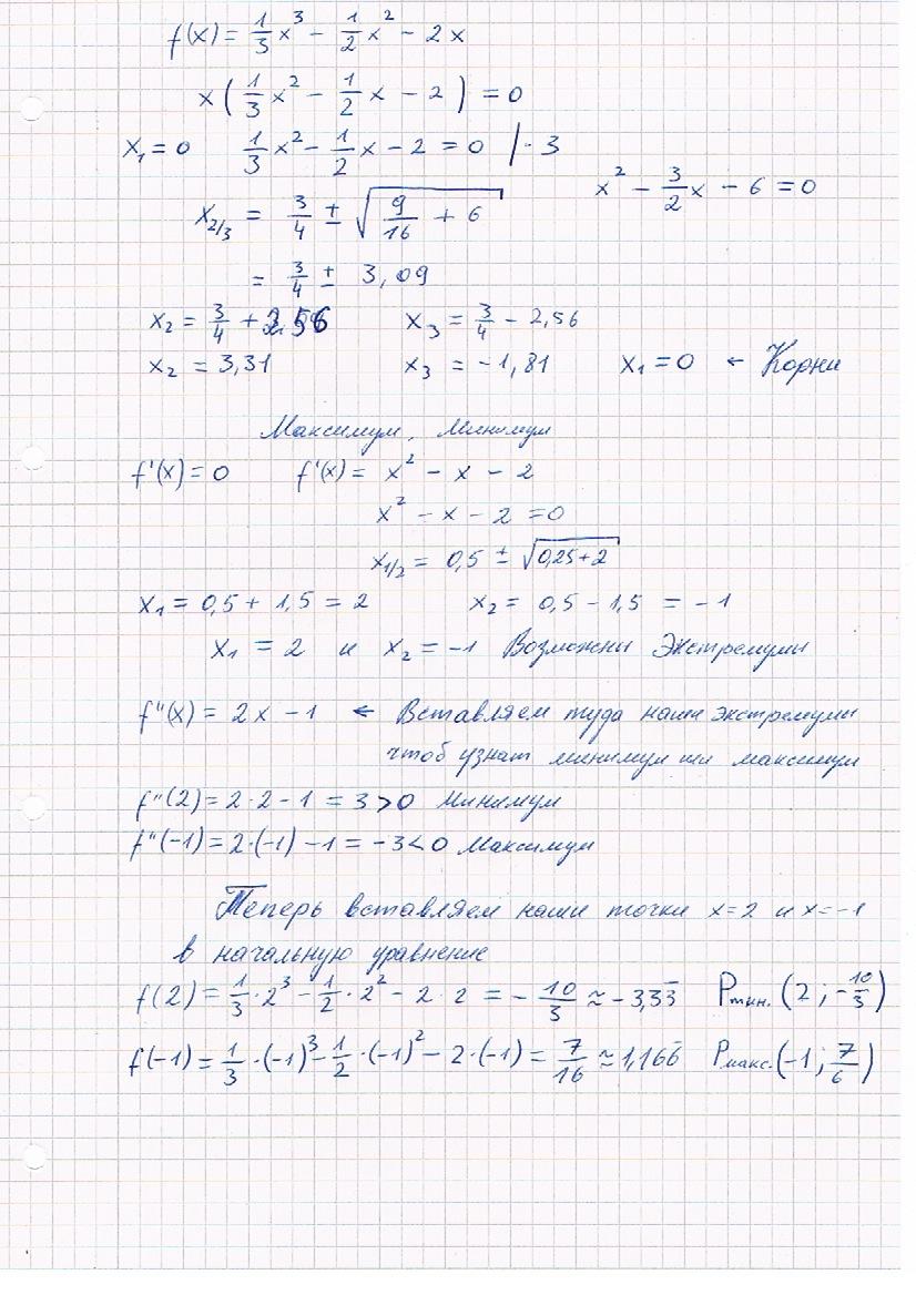 Исследовать функцию f(x)=1/3x^3-1/2x^2-2x