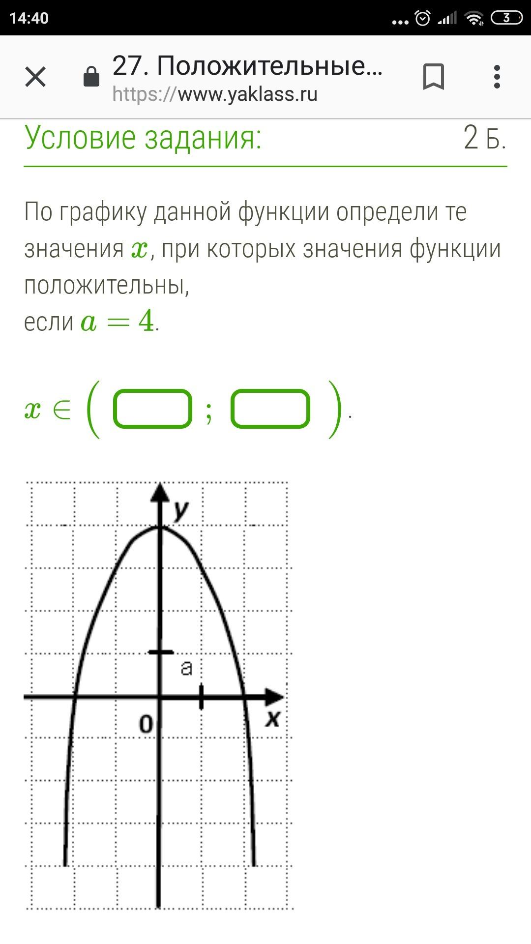 По графику данной функции определи те значения X,
