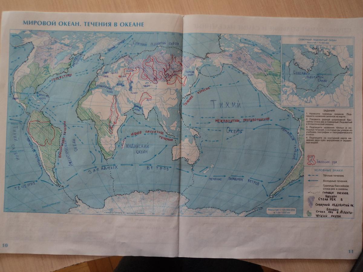 Части мирового океана 5 класс схема летягин