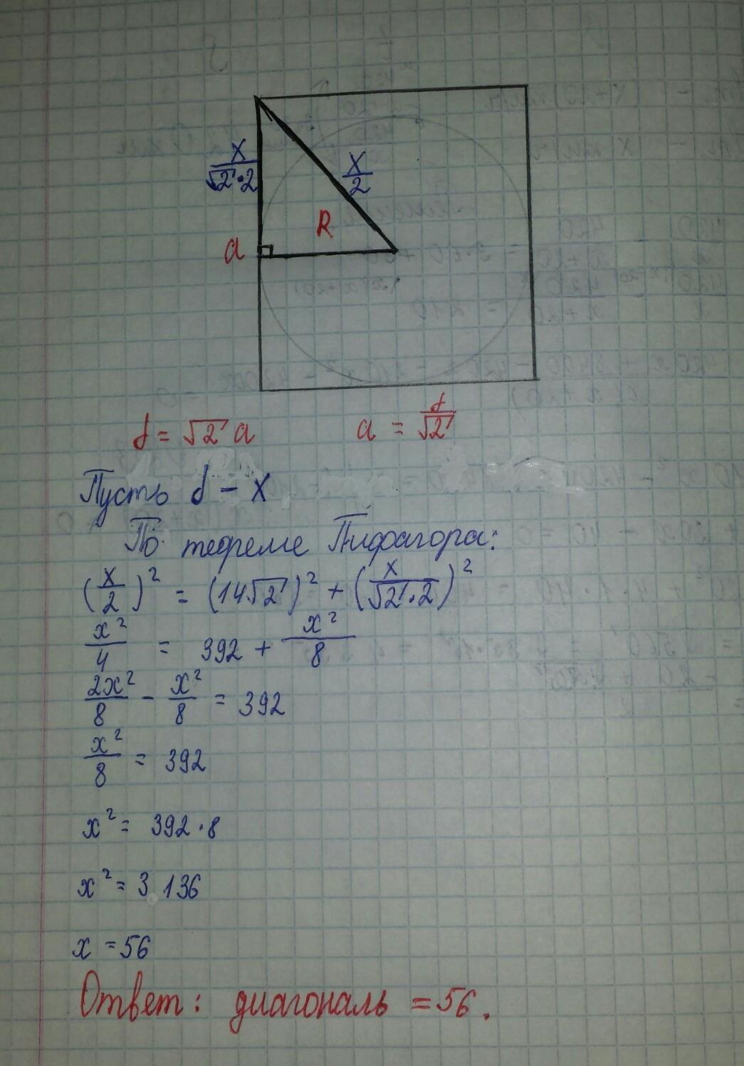 Радиус вписанной в квадрат окружности равен 14