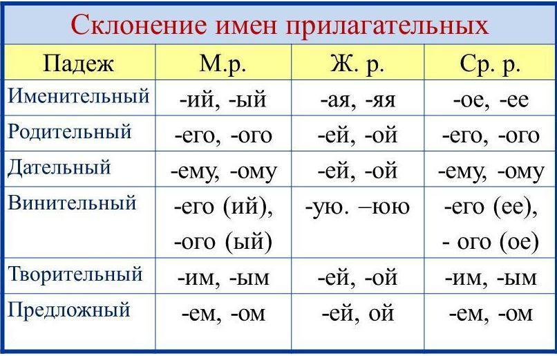 """Картинки по запросу """"склонение имен прилагательных в единственном числе"""""""""""