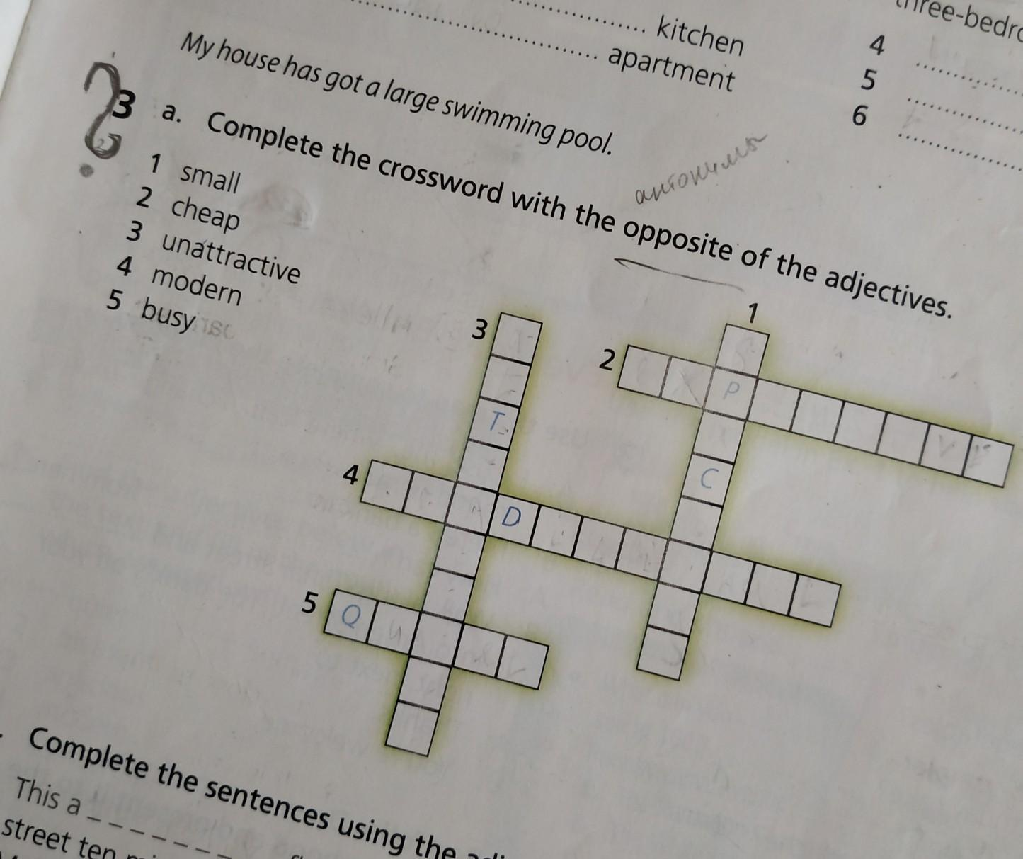 Complete the crossword with the opposite of the