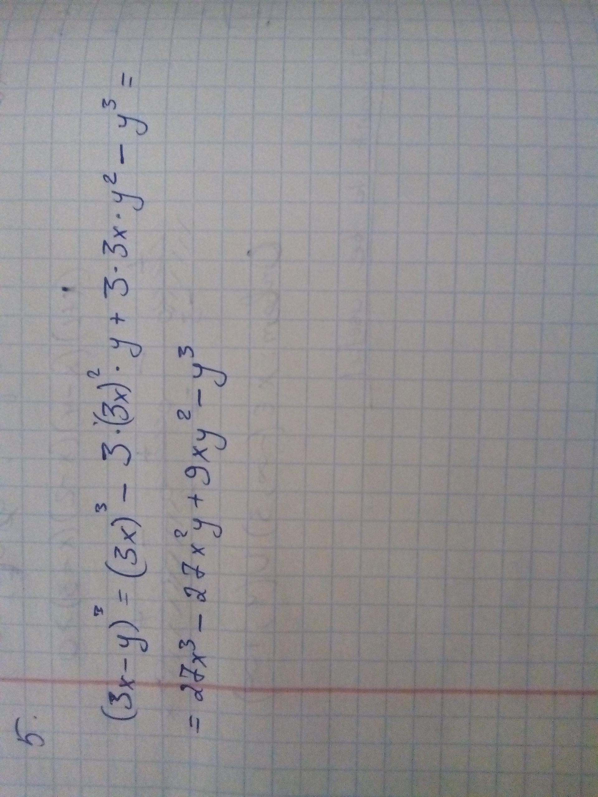 Запишите выражение в виде многочлена: (3x-y)^3.