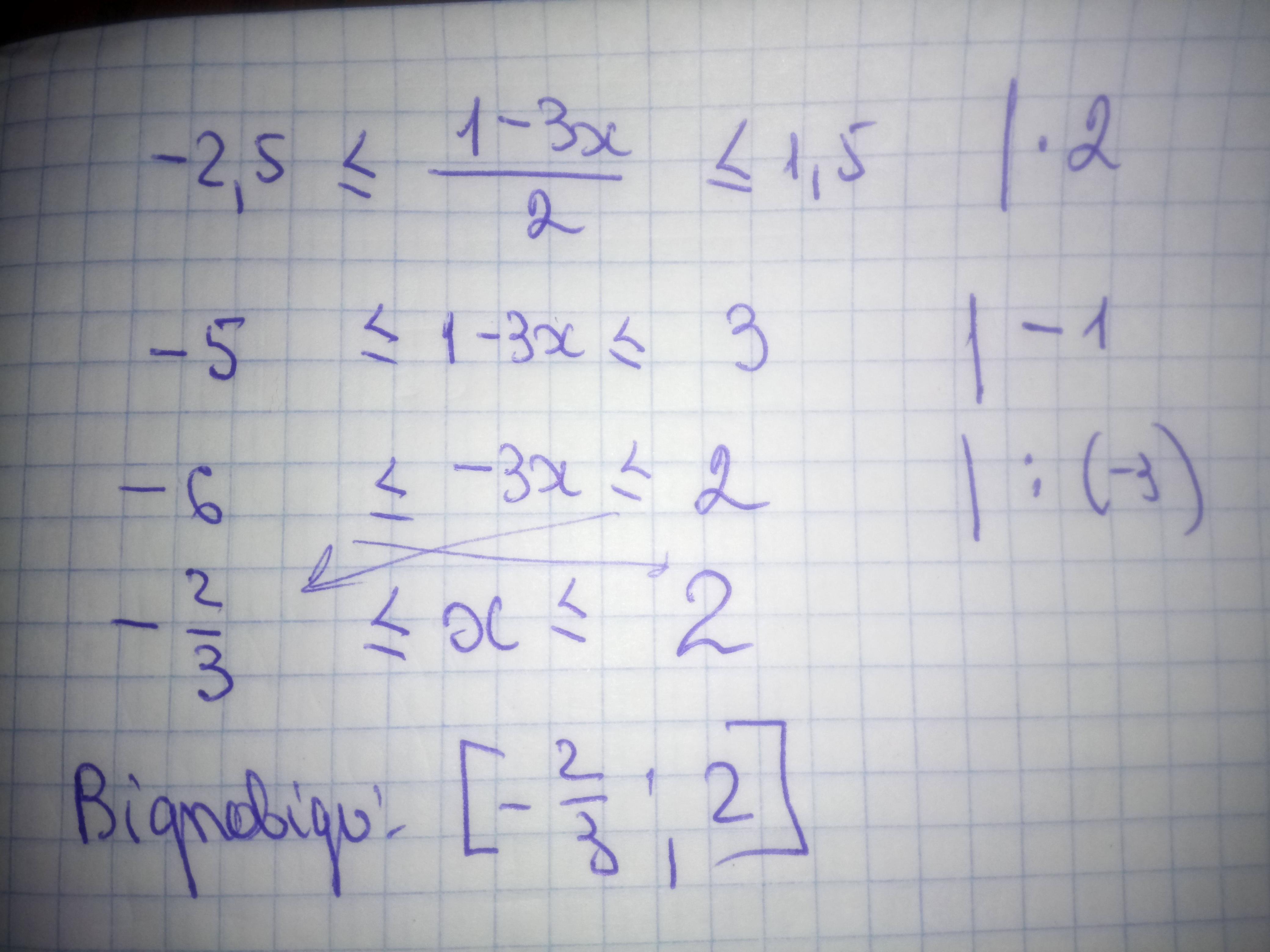 Розв'яжіть нерівність -2.5≤1-3x/2≤1.5