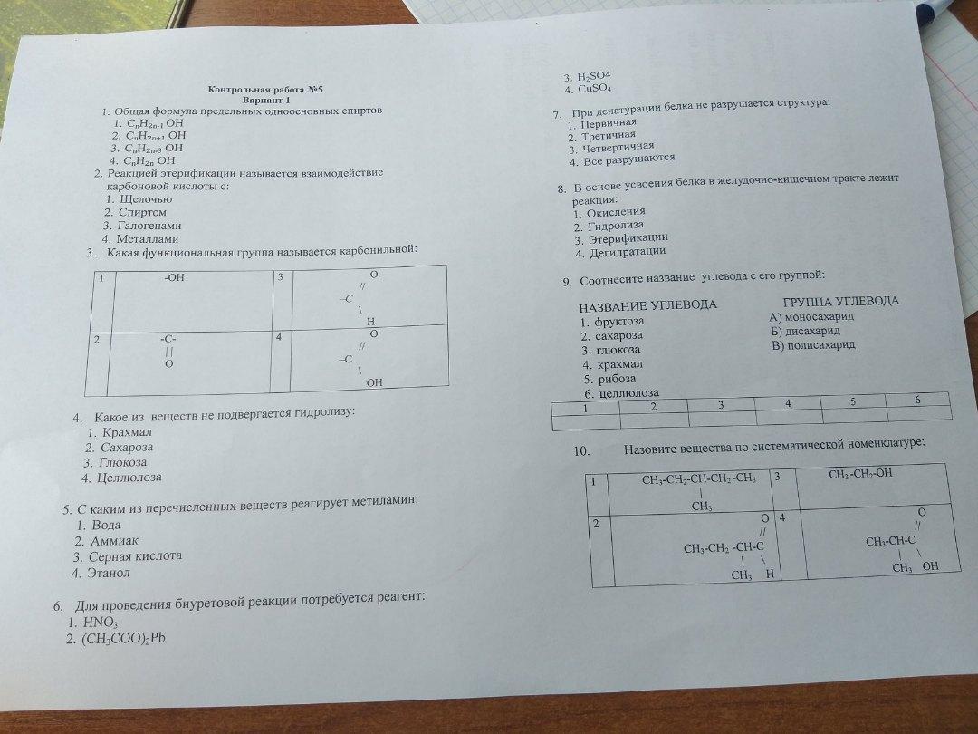 Тест по органической химии 1 курс (итоговый), по