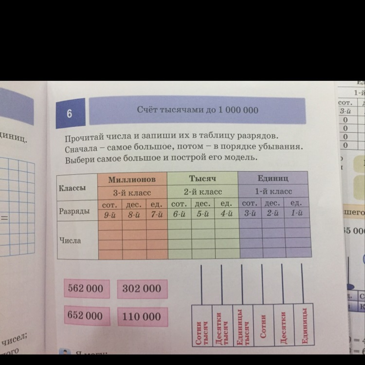 Прочитай числа и запиши их в таблицу разрядов.