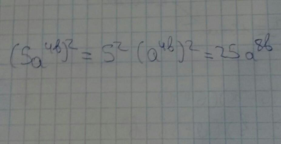Выполни возведения в степень (5a^4b)^2