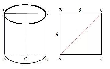 Осевое сечение цилиндра квадрат со стороной равной