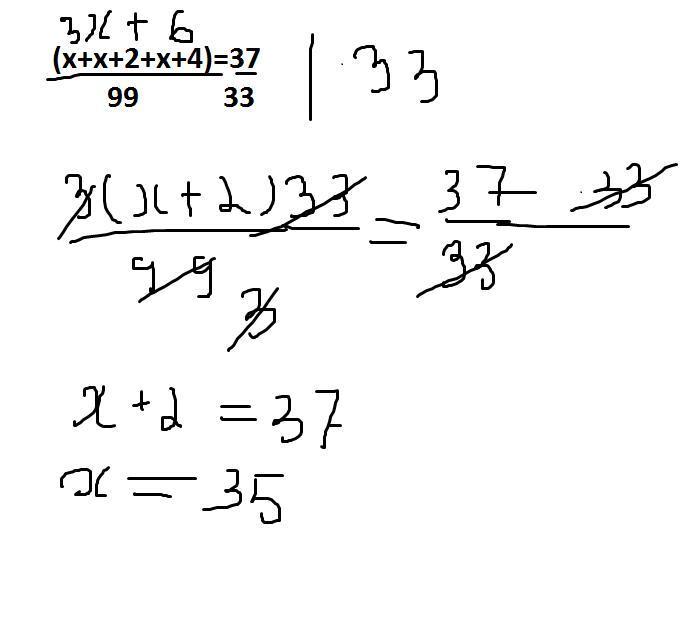 Решите уравнение (х+х+2+х+4):99=37/33 Пж ★★