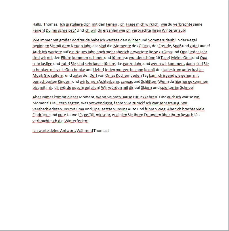 Письмо другу на французском языке образец с переводом ооо