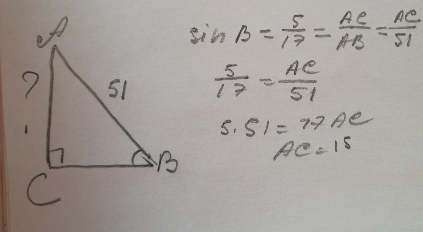 В треугольнике АВС угол с=90градусов, sinB=5/17,