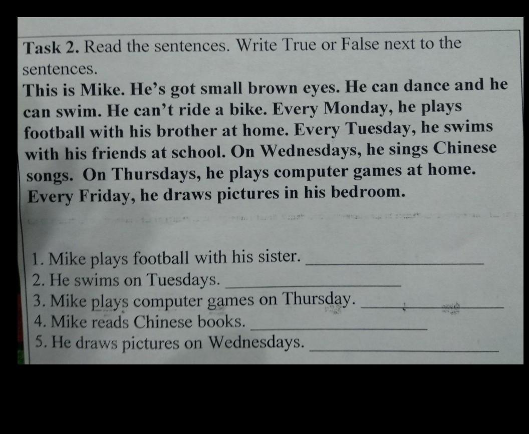 Pomogite S Anglijskim Ya Ne Ponimayu Task 2 Read The Sentences Write True Or False Next To Shkolnye Znaniya Com