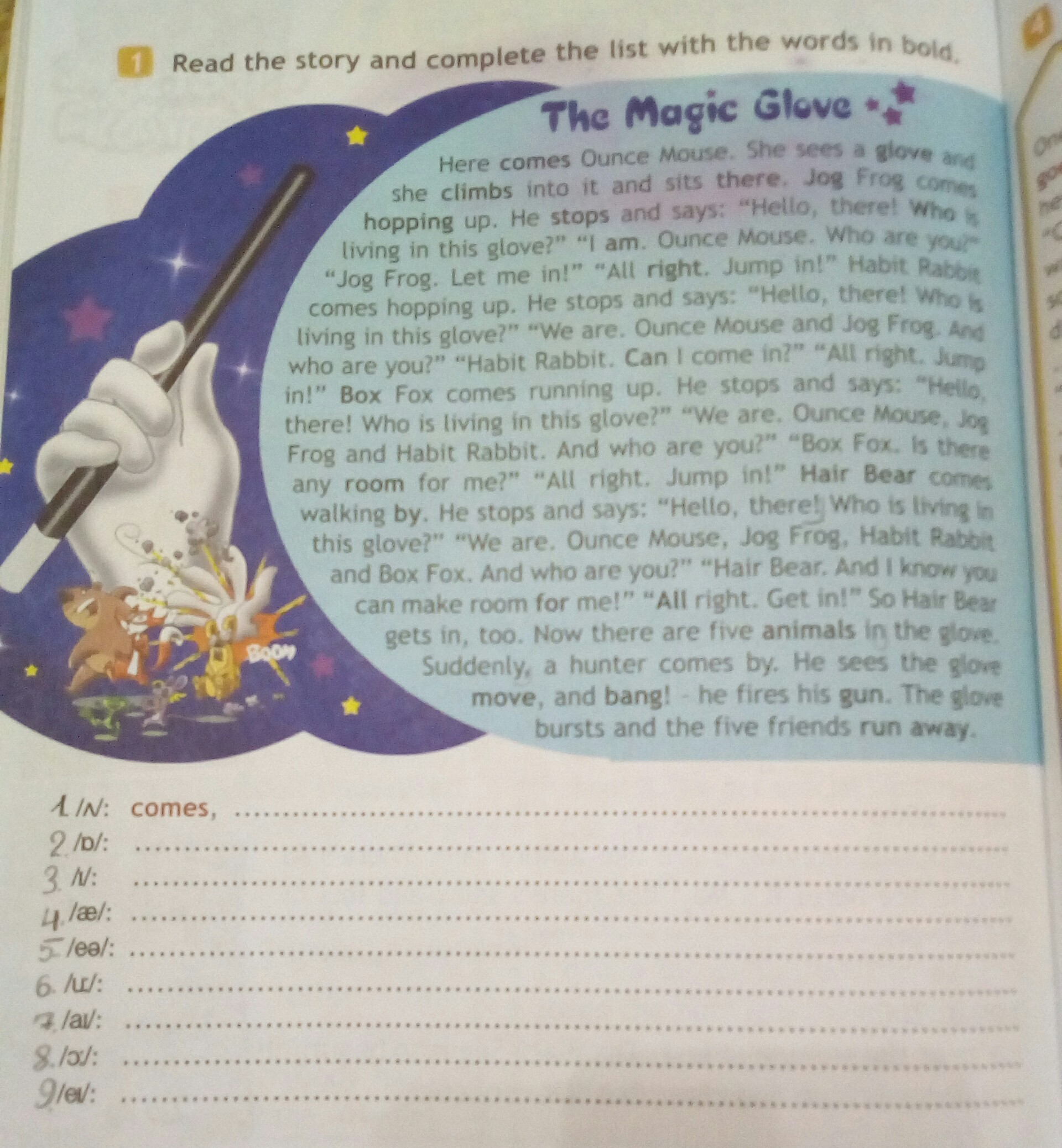 Read The Story And Complete The List With The Words In Bold